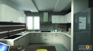 18' U Shape Modular Kitchen Design